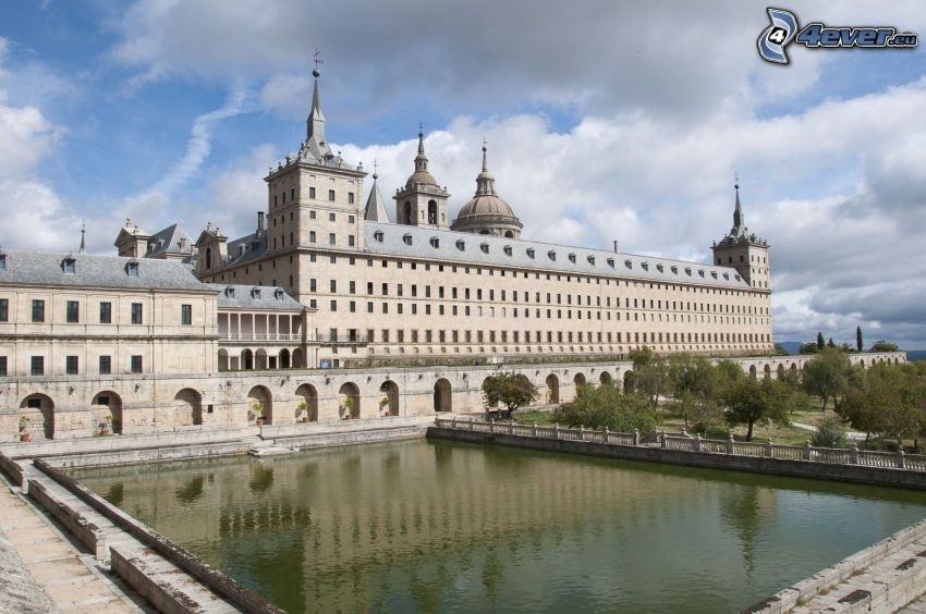 El Escorial, lake, clouds