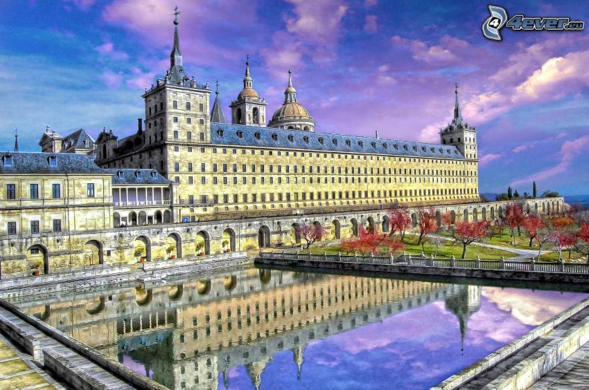 El Escorial, lake, reflection, cartoon