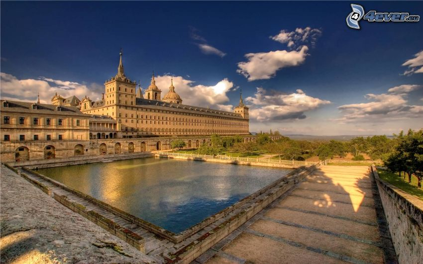El Escorial, lake, sidewalk, clouds, HDR