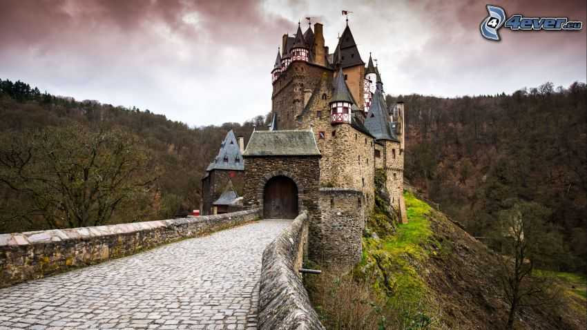 Eltz Castle, forest, stone bridge