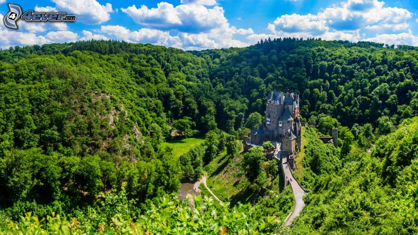 Eltz Castle, mountain, forest, greenery
