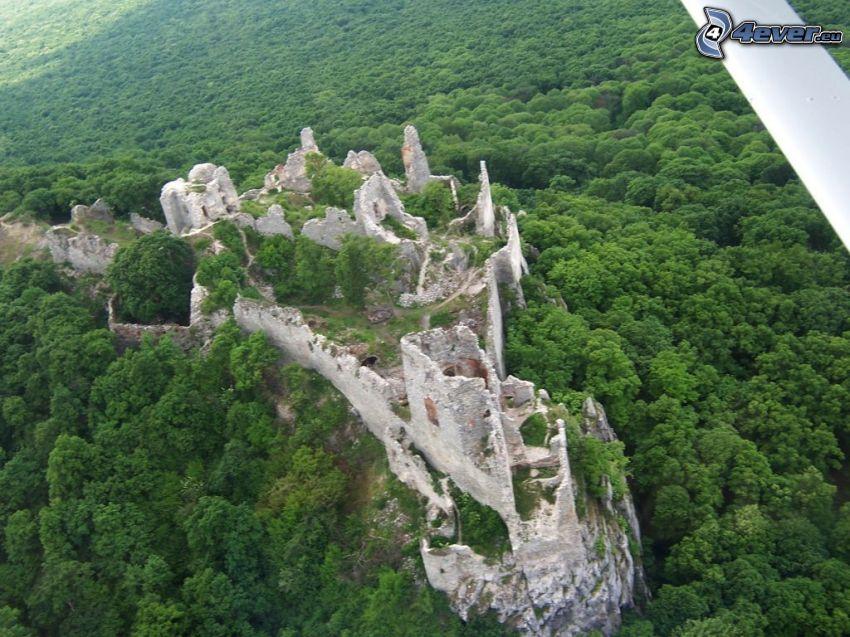 Gýmeš Castle, ruins, forest, aerial view