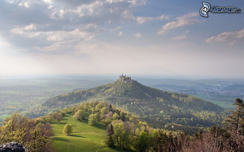 Hohenzollern, hill, castle, Germany, sunbeams, view of the landscape