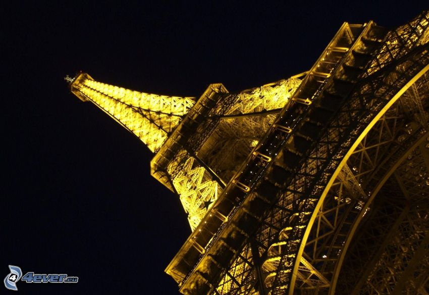 illuminated Eiffel Tower, Paris, France