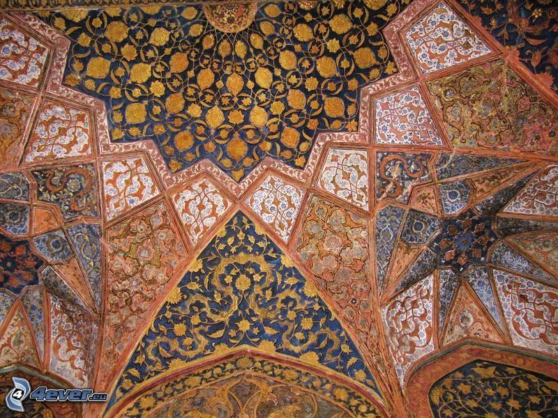 Charming Interior Of Taj Mahal, Ceiling