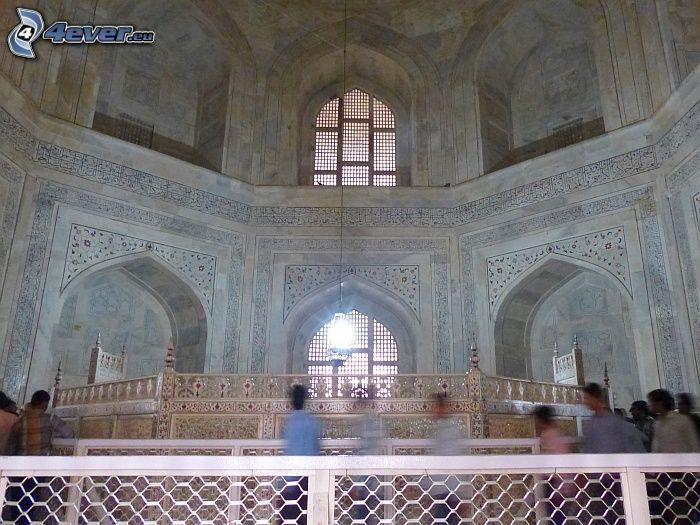 interior of Taj Mahal, windows, people