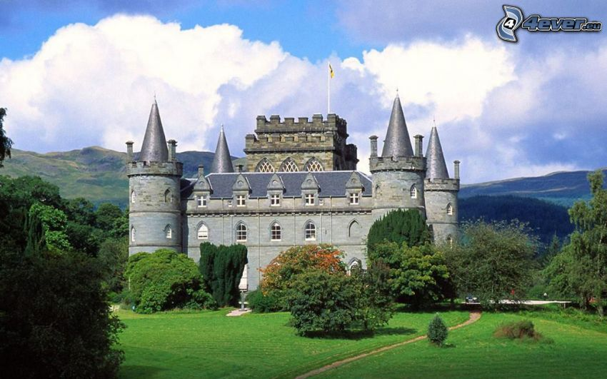 Inveraray Castle, park, clouds, trees