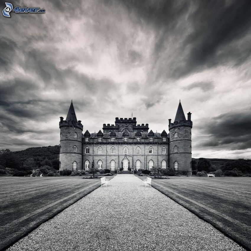 Inveraray Castle, sidewalk, meadow, black and white photo
