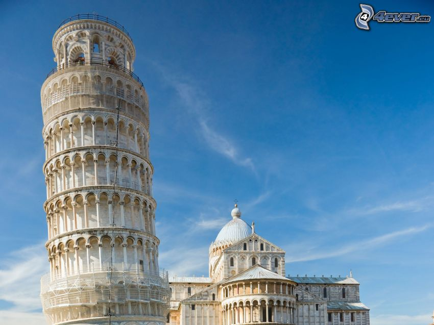 Leaning Tower of Pisa, Italy, sky