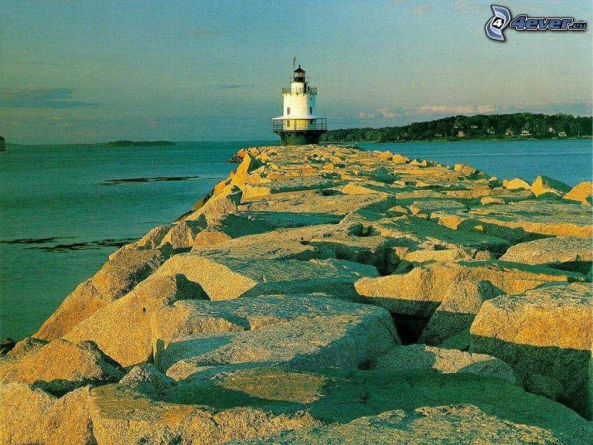 lighthouse, dam, rocks, sea