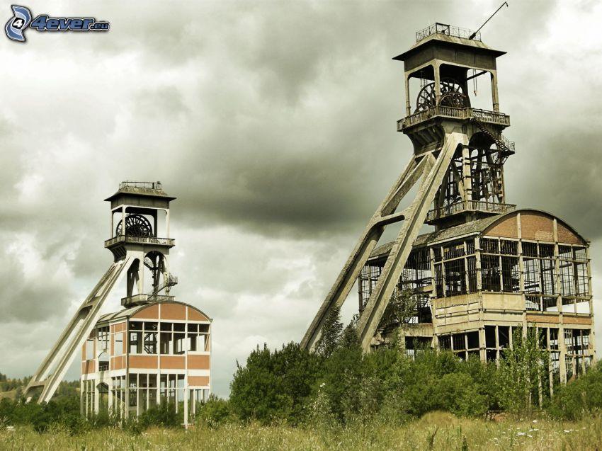 mine, towers