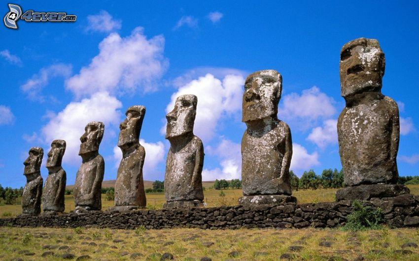 Moai statues, easter islands