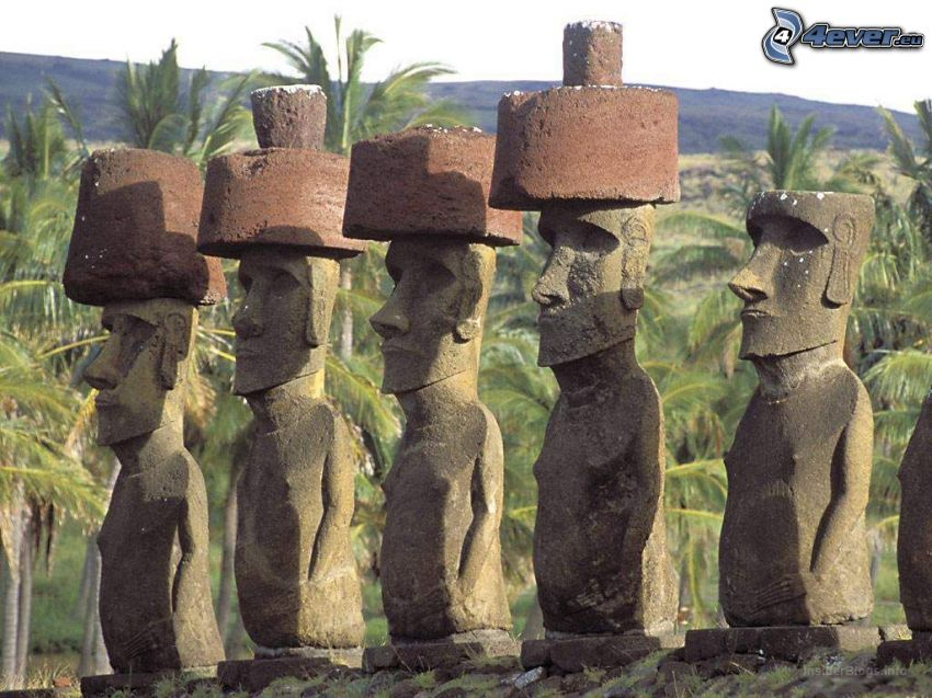 Moai statues, palm trees, easter islands