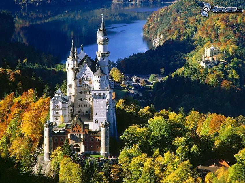 Neuschwanstein castle, Bavaria, Germany, autumn, Hohenschwangau Castle