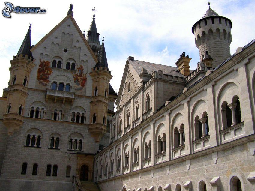 Neuschwanstein castle, courtyard, Bavaria