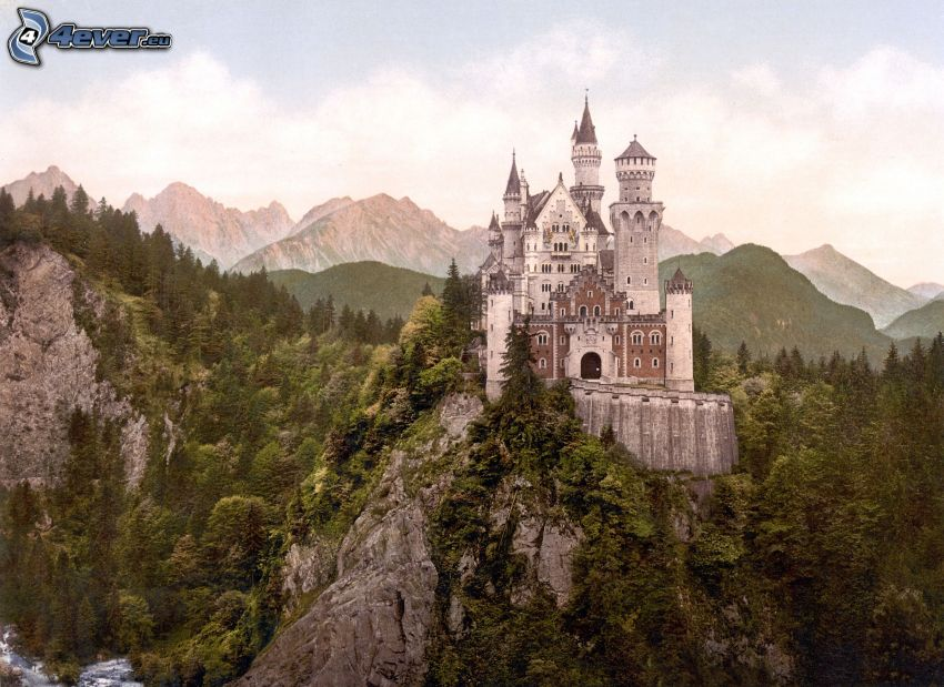 Neuschwanstein castle, mountains