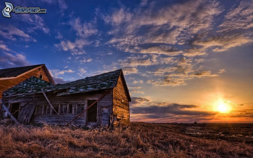 old wooden house, cottage, sunset over meadow