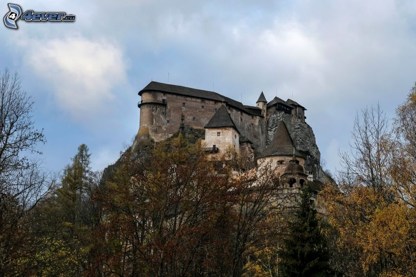 Orava Castle, autumn forest