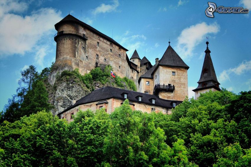 Orava Castle, green trees