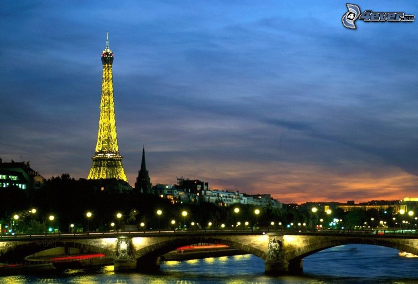 Paris, evening city, bridge, Seine, illuminated Eiffel Tower, street lights