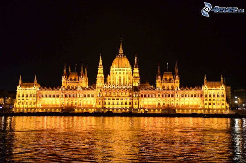 Parliament, Budapest, Danube, River, lighted building