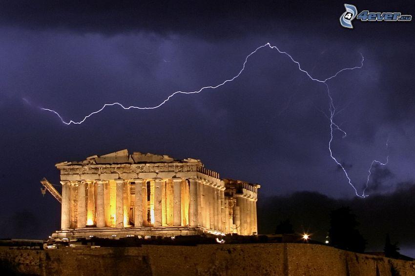 Parthenon, Athens, lightning, night