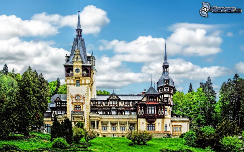 Peles Castle, forest, clouds