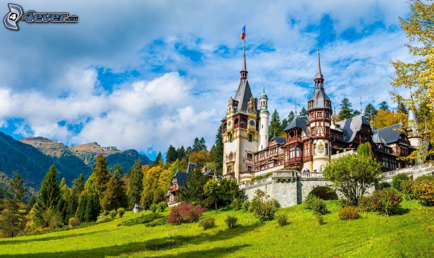 Peles Castle, forest, meadow, mountain