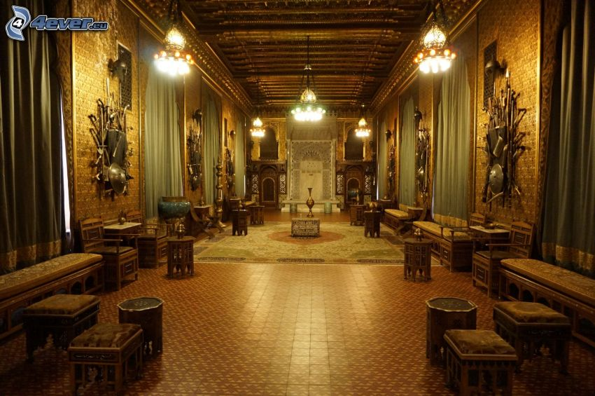 Peles Castle, interior, lamps, sofa