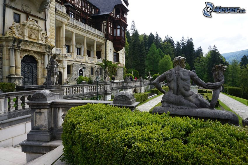 Peles Castle, statue, sidewalk