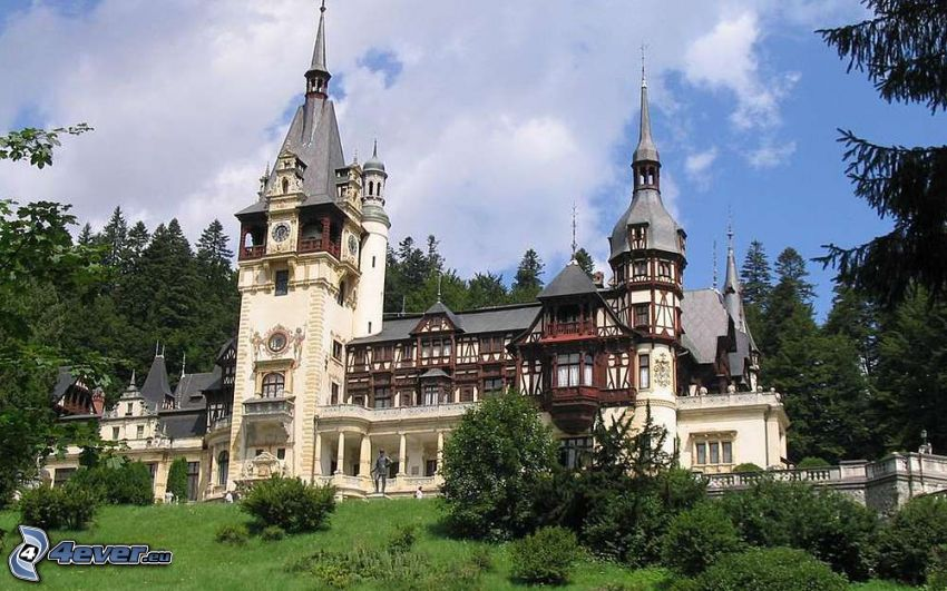 Peles Castle, trees, forest