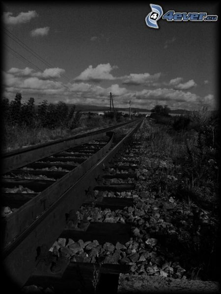 railway, rails, landscape, clouds, black and white photo