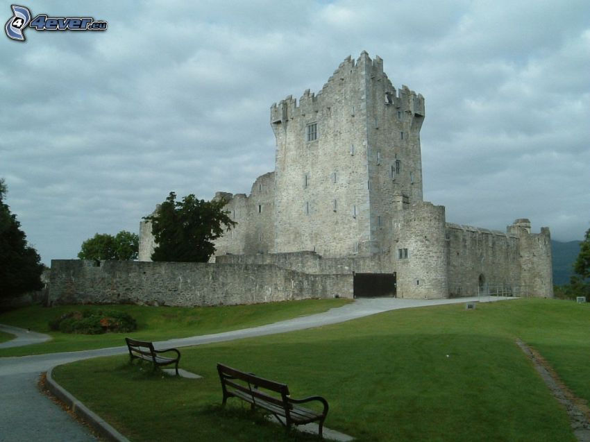 Ross Castle, benches, road, sidewalk
