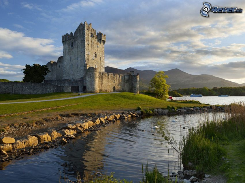 Ross Castle, River, mountain