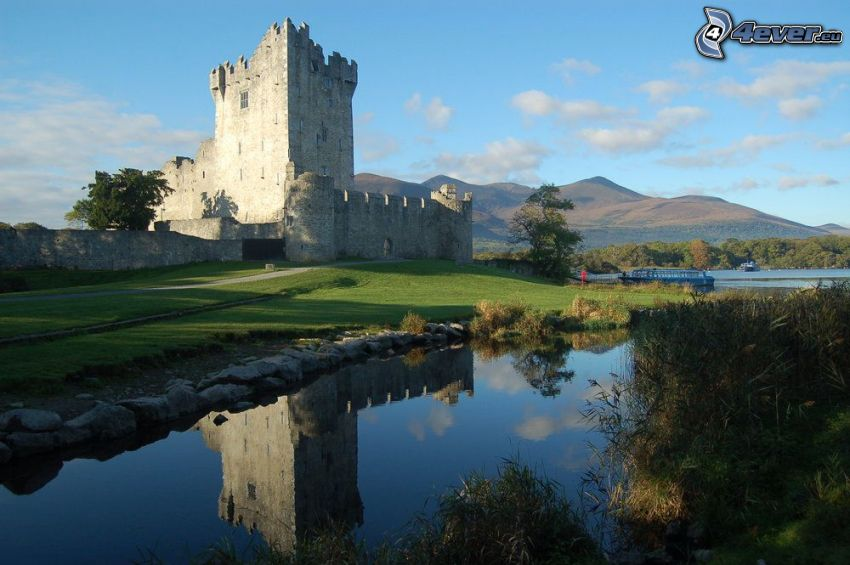 Ross Castle, River, reflection, mountain