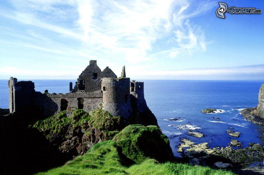 ruins, Ireland, sea