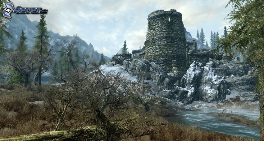 ruins, stream, snow, rock