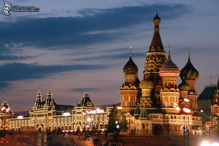 Saint Basil's Cathedral, evening city