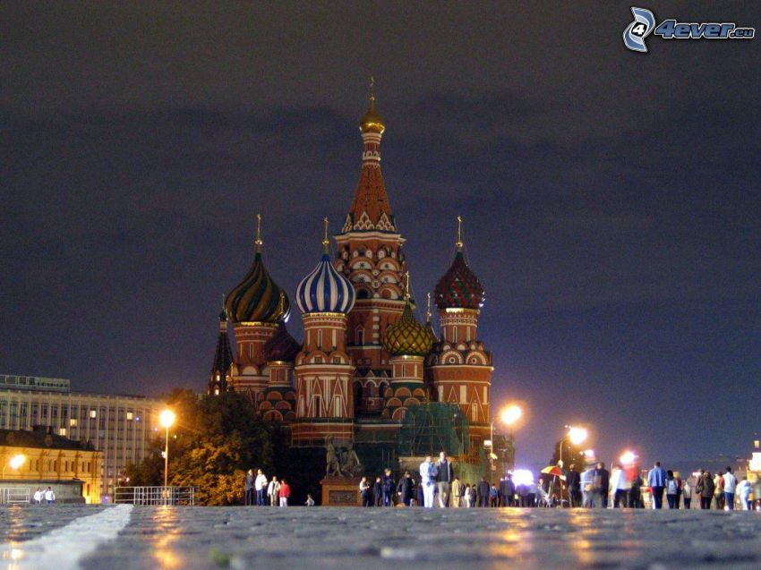 Saint Basil's Cathedral, square, evening city