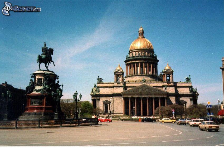 Saint Isaac's Cathedral, Saint Petersburg, road, sculptures