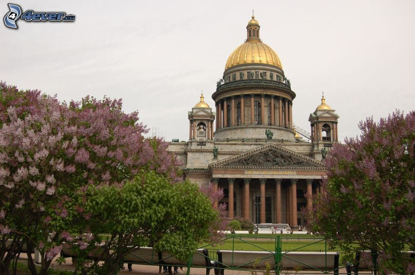 Saint Isaac's Cathedral, Saint Petersburg, Russia, lilac