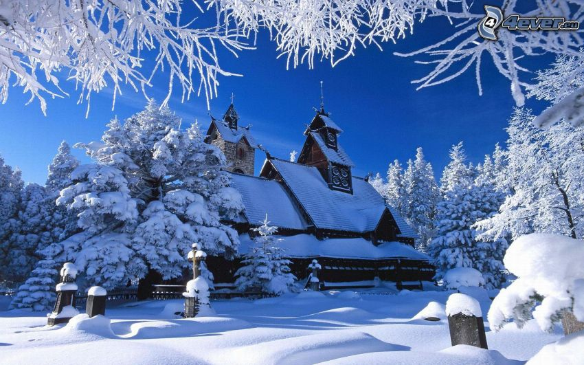 snowy church, wooden church, snowy trees, cemetery, winter, snow