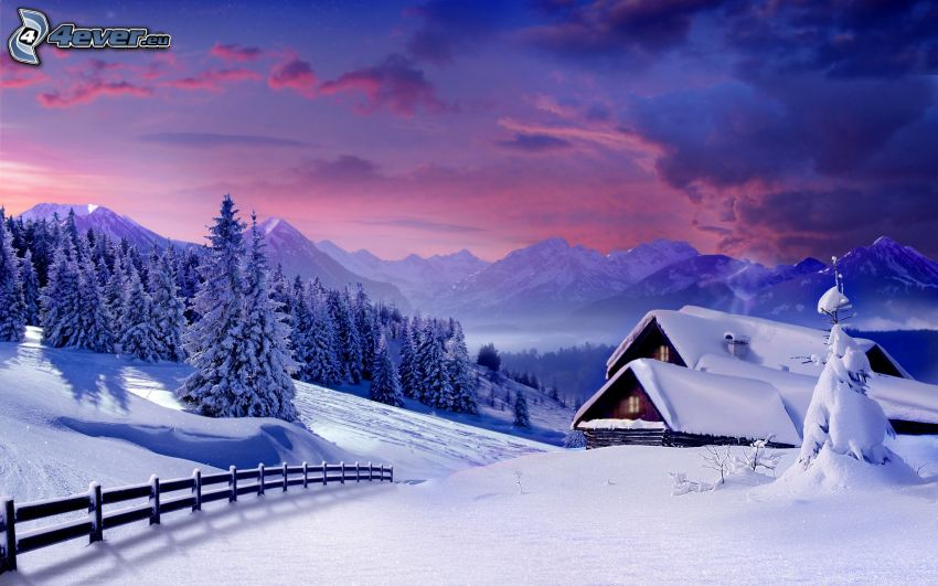 snowy cottage, forest, mountains, snow, snowy fence