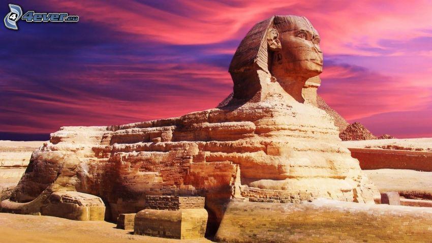 Sphinx, purple sky
