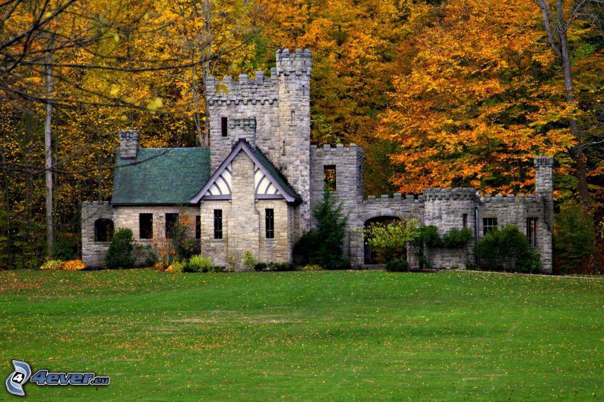 Squire's Castle, autumn forest, lawn