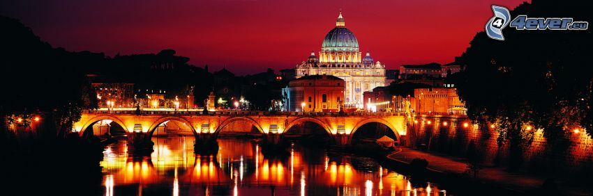 St. Peter's Basilica, Vatican City, Italy, night city, lighted bridge
