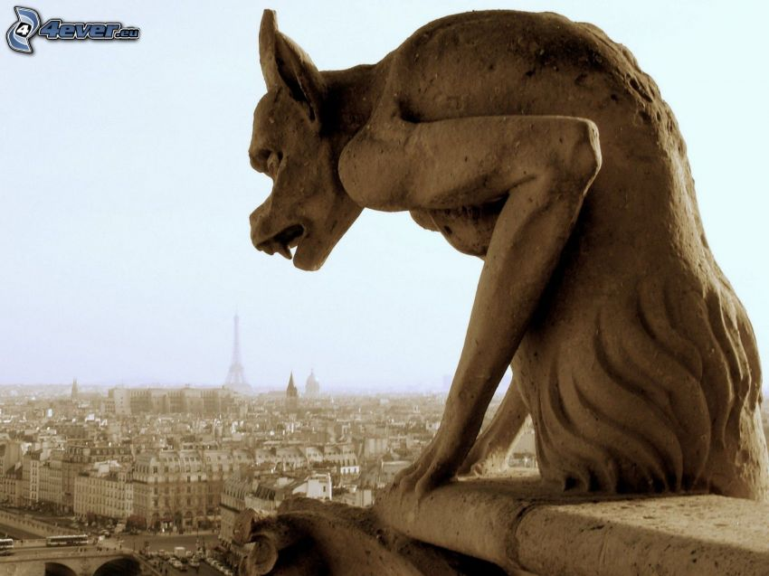 statue, view of the city, Paris, sepia