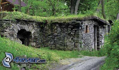 stone house, road
