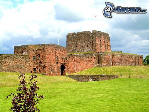 stronghold, castle, England, lawn