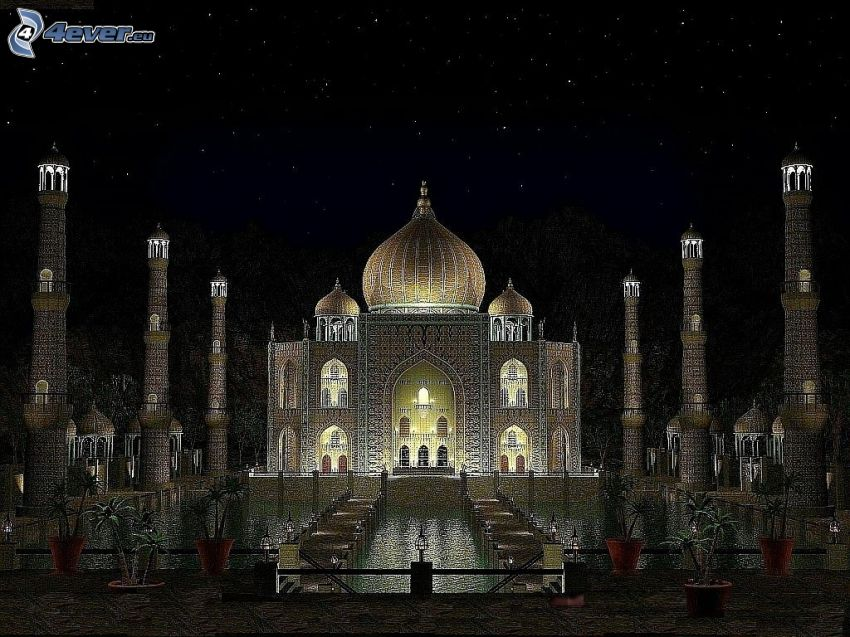 Taj Mahal, night, fountain, pillars